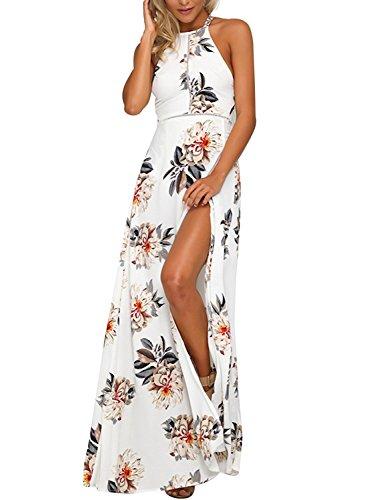 Minetom Sommer- Rundhalsausschnitt Mode Halterneck Hawaii Stil Damen Elegant Blumen Rückenfrei Split Lang Kleid Chiffon Maxikleid Strandkleid Weiß DE 34 (X Hawaii-hemden 4)