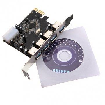 Preisvergleich Produktbild Kyz Kuv PCI-e PCI Express 4 Port USB Hub USB3.0 VLI -Karten-Adapter 5 Gbps