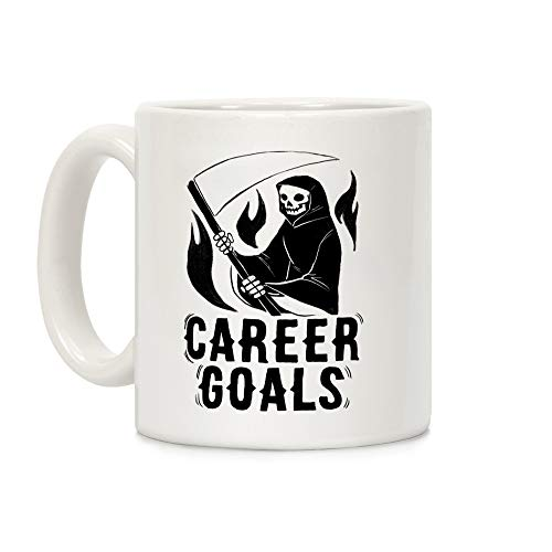 LookHUMAN Career Goals Kaffeebecher mit Sensenmann-Motiv, 312 ml, Keramik, Weiß (Team Usa Halloween-kostüm)