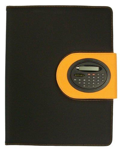 BDS Soft-Touch-Mappe A4 mit Klapp-Taschenrechner / Block / Stiftschlaufe / Visitenkartenfach, Orange (Taschenrechner Business Card Holder)