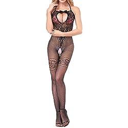◕‿◕LianMengMVP Femmes Combinaisons Ouvertes Entrejambe La Perspective Impression sous-vêtements Pyjama résille (Noir 2, Free Size)