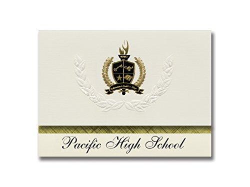 Signature Announcements Pacific High School (Ventura, CA) Abschlussankündigungen, Präsidential-Stil, Grundpaket mit 25 goldfarbenen und schwarzen metallischen Folienversiegelungen