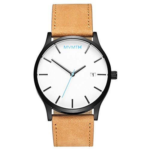 MVMT Quarzuhr Classic White / Black Tan Leather MM01-WBTL Herren Armbanduhr Tan