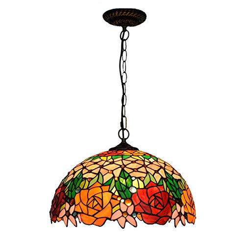 Tiffany-Stil Kronleuchter LED Rund Rose Deckenlampe Vintage Mediterran Glas Transluzent Lampenschirm Einstellbar Metall Hangingchain Schlafzimmer Wohnzimmer Restaurant Flur Bar/E27*1/16 Zoll