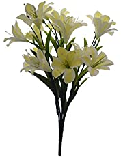 Fourwalls Synthetic Fabric Artificial Lily Flower Bunch (21 Flower Heads, White)