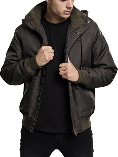 Urban Classics Herren Winterjacke Heavy Hooded Jacket, gefütterte Jacke mit abnehmbarer Kapuze mit Kunstfell-Futter - Farbe darkolive, Größe XL (Kapuze Befestigt Gefüttert Mit)