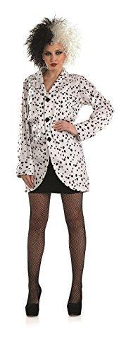 Frauen Kostüme Für Halloween Dalmatiner (Damen Dalmatiner Bösewicht Jacke TV Film Halloween Kostüm Kleid Outfit UK 8-22 Übergröße - Schwarz,)