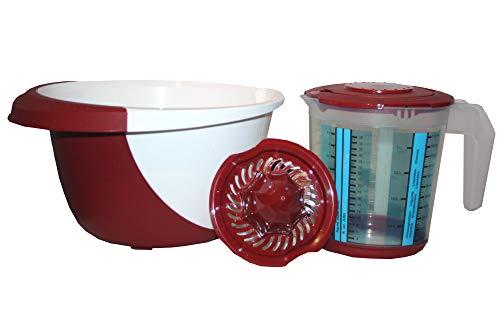 4tlg. Rührschüssel-Set Meßbecher Messkanne mit Deckel Zitruspresse Schüssel (Messbecher-set Und Rührschüssel)