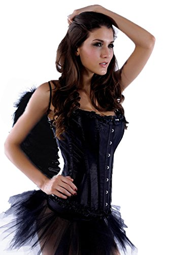 spass42 Damen Kostüm Corsage + Flügel + Rock Tutu schwarzer Engel Dark Black Angel Fee Halloween Groesse: S
