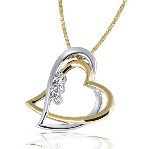 Goldmaid-Damen-Collier-Bicolor-Gold-2-Herzen-3-Diamanten-003-Karat