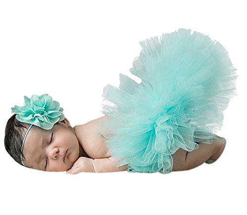 Imagen de happy cherry  disfraz trajes de falda tutú y banda de cabeza de flor apoyo de fotografía fiesta cumpleaños para recién nacido bebé niñas de 1 mes, azul claro