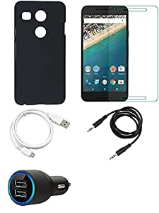 NIROSHA Tempered Glass Screen Guard Cover Case Car Charger USB Cable for LG Nexus 5x - Combo