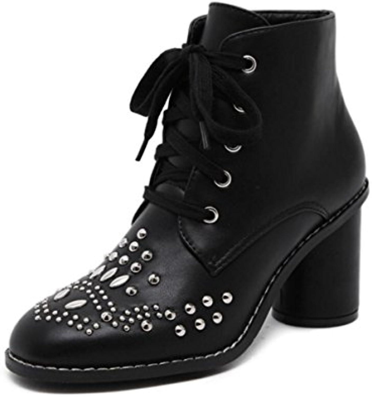 LINYI Correa Redonda para Mujer Martin Boots Chunky Heel New Rivet Botas Cortas Estilo Punky Zapatos De Tacón...