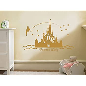 PERSONALISED Princess Castle Wall Art, Vinyl Sticker Wall Childs Nursery  Mural Decal Pink | Medium 56cm (w) X 31cm (h) Part 61