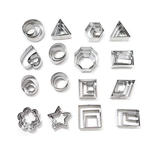 Ebroker 24 stampi di stella, cuore & 24 forme geometriche - stampi per biscotti fatti in casa o per decorazioni in fondente, dolci & pasticceria - acciaio nossidabile durevole