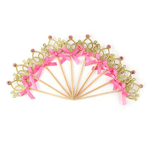 10 Stücke Crown Kuchen Cupcake Topper Mit Band Bowknot Hochzeit Geburtstag Dessert Obst Dekoration(Gold)