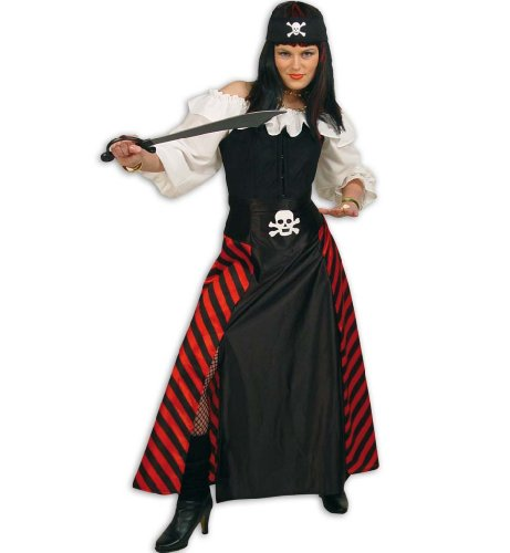"""Rock Candida"", Piraten Kostüm, Frauen-Kostüm, Damen-Kostüm, schwarz-rot, gestreift, Totenkopf, Piratin (46)"