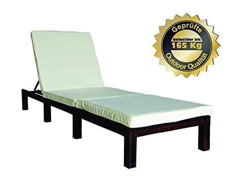MK Outdoor Rattan Rattanliege Lounger-B, belastbar bis 165 kg, mehrfach verstellbare Rückenlehne, braun, Gartenliege, Relaxliege, Liegestuhl, Sonnenliege, Rattanmöbel