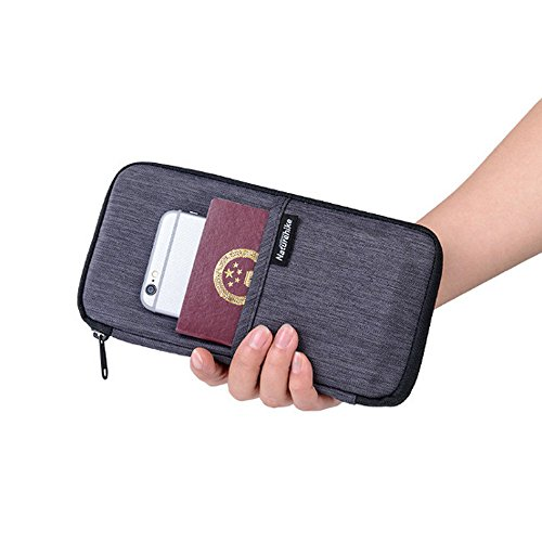 CATOP RFID Travel Passport Wallet for Women & Men Waterproof Document Organizer Zipper Case With Neck Strap Gray