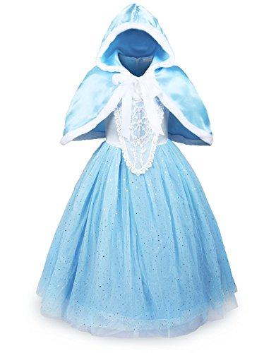 ReliBeauty Mädchen glänzendes Paillette Prinzessin Kleid Kostüm, hellblau,122-128