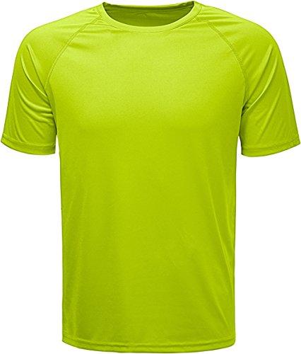 KomPrexx T Shirt Uomo Manica Corta - Asciugatura Rapida - Traspirante Maglietta Tinta Unita - Running e Sportivo (Yellow,XL)