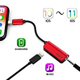 Baseus iPhone 7 / 7 Plus Adapter & Splitter,2 in 1 Lightning to 3.5 mm Headphone Jack Adapter,Apple Male to 3.5mm Earphone Extender Jack Stereo Converter with Apple Female Adapter for iPhone X / 8 / 8 (L32 - Red)