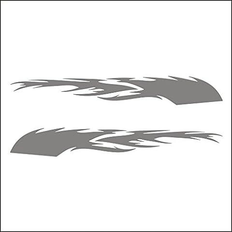 3094__S Pegatina para el coche Large Racing Tattoos Tribal Flames, ( Silver)