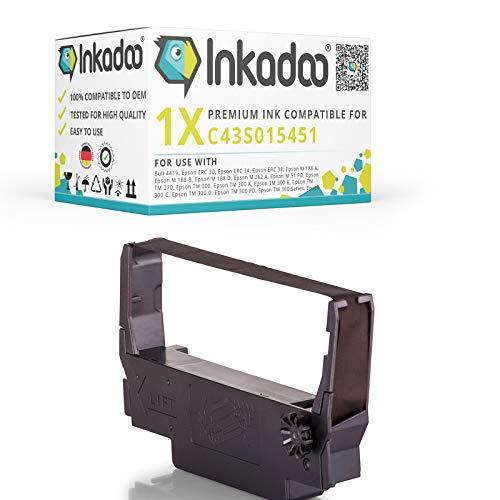Inkadoo Farbbänder kompatibel zu Epson TM-U 220 B C43S015451 ERC30B, ERC38B C43S015244 C43S015451, Premium Nylonband Alternativ, Schwarz
