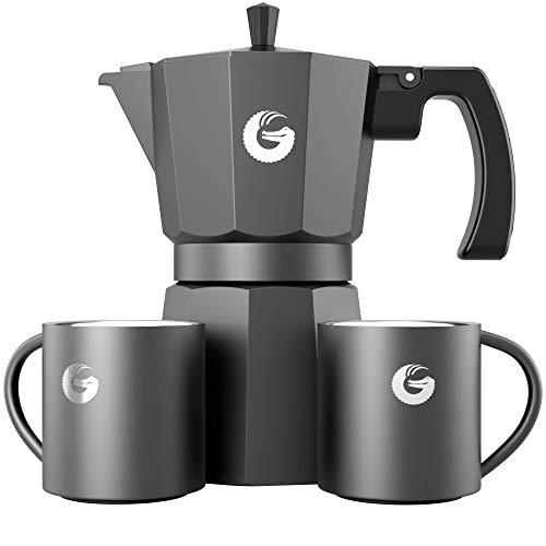 Coffee Gator Moka per Espresso Caffettiera per fornelli, con Due Tazze Termiche – 350 ml