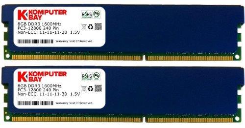 Komputerbay - Barra di memoria viva DDR3 DIMM RAM 16 Gb 2x 8 Gb 240 perni 1600MHz PC3-12800 con dissipatore di calore, colore: Blu