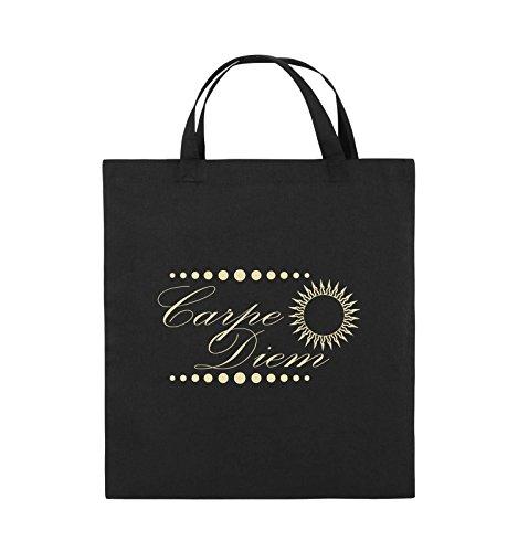 Comedy Bags - Carpe Diem - Sonne - Jutebeutel - kurze Henkel - 38x42cm - Farbe: Schwarz / Silber Schwarz / Beige