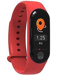 Denret3rgu Pulsera Inteligente M3plus Monitor de Ritmo cardíaco Impermeable Podómetro Rastreador - Rojo