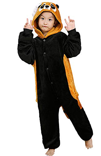 Pyjamas Kigurumi Jumpsuit Onesie Mädchen Junge Kinder Tier Karton Halloween Kostüm Sleepsuit Overall Unisex Schlafanzug Winter, Rot Panda