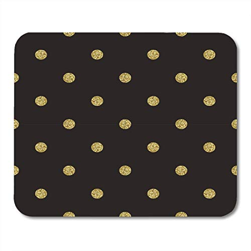 pad-Matte, Party White Date Pattern Polka Dot on Black Classic Dotted Gold Glitter Yellow Birthday Confetti Mouse Pad ()