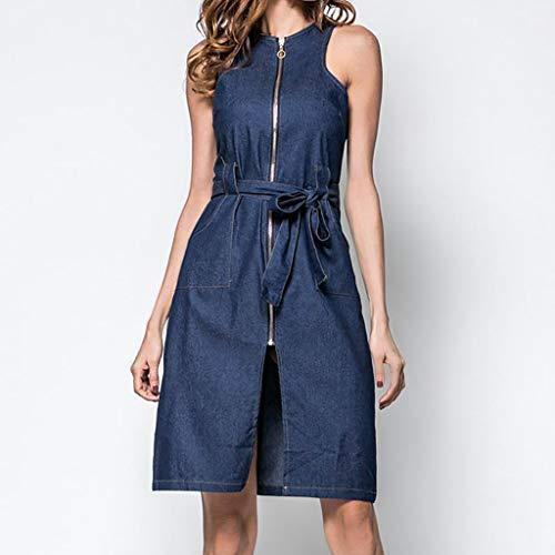 Gingham Denim Kurze (GOKOMO Damen Sommer Rundhals Denim Weste Cardigan Split ärmelloses Kleid(Blau,X-Large))