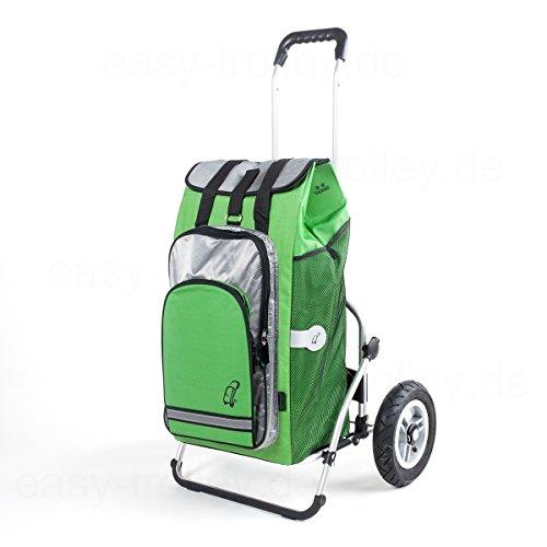 XXL Einkaufstrolley, mit Luftreifen, inkl. abnehmbarer Tasche Hydro grün, 56 Ltr. mit Kühlfach und als Rucksack tragbar