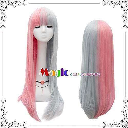 Perücken täglich schwarz Pulver grau Weißgold rot doppelt lange glatte Haare Hali Kui Yin Clown weibliche COS Perücke, rosa und grau Doppel Zauber LW1677, eine Größe