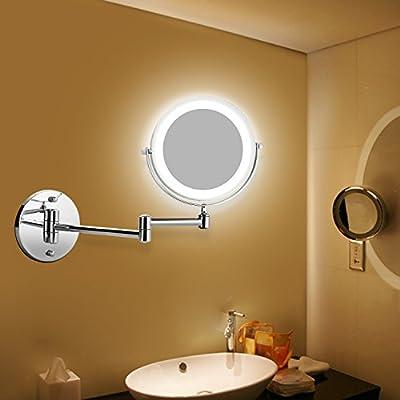 BATHWA Wandmontage Zweiseitig LED Beleuchteter Kosmetikspiegel