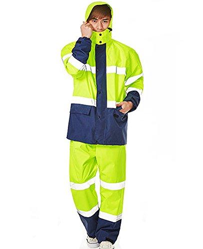 Icegrey Unisex Hi Vis Wasserdicht Arbeitsbekleidung Regenanzug Mit Reflektierende Streifen Atmungsaktiv Regenjacke Und Hose Gelb Style 1 3XL