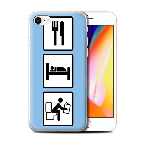 Stuff4 Hülle / Case für Apple iPhone 8 / Fußball/Blau Muster / Essen/Schlaf Kollektion Poop/Blau