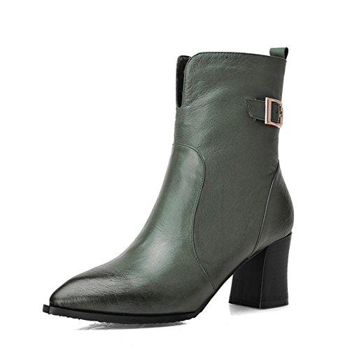 frau high heels leder stiefel. seite reißverschluss schnalle schuhe. schwarz armeegrün. größe 34-39 . green . 36