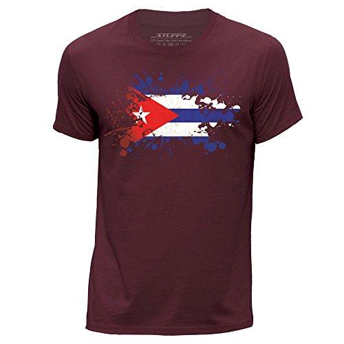 Stuff4® Herren/groß (L)/Burgund/Rundhals T-Shirt/Cuba/Kubanische Flagge Splat (Burgund Christmas Stockings)