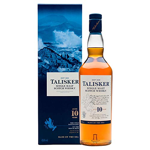 Talisker 10 Jahre Single Malt Scotch Whisky - Weicher, torfiger und rauchiger Whisky aus dem Norden Schottlands - In maritimer Geschenkbox - Standardversion - 1 x 0,7l