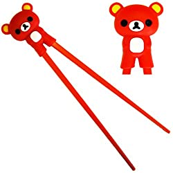 Cute Rilakkuma Bear Plastic Chopsticks with Silicone Guide/Training Connector -Red color