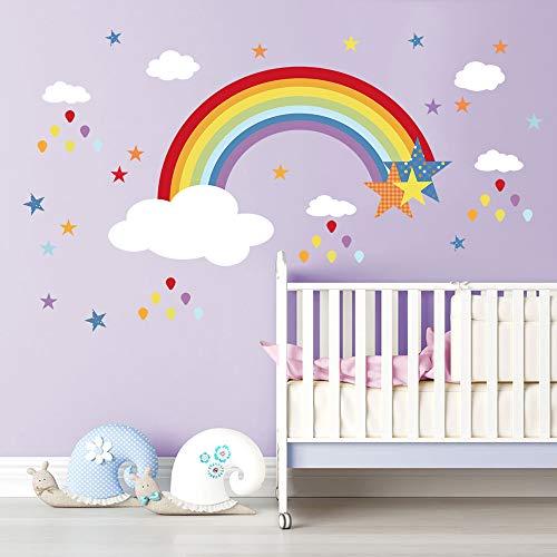 Decalmile Stickers Muraux Arc En Ciel Étoile Autocollant Mural Nuages  Blancs Gouttes De Pluie Coloré Décoration
