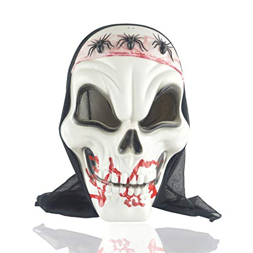 LLCOFFGA Halloween Böse Schädel Spinne Scary Gesichtsmaske