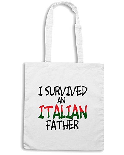 T-Shirtshock - Borsa Shopping OLDENG00118 i survived an italian father Bianco