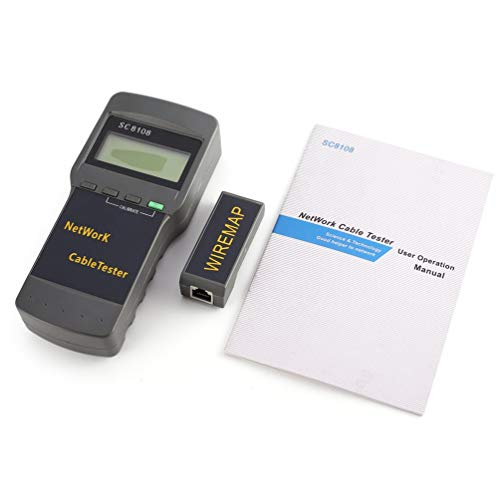 CHOULI Sc8108 Network Tester Portable LCD LAN Phone Length Cable Meter 5E 6E Rj45 Gray Single-line-lcd-display