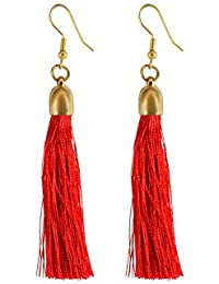 I Jewels Red Gold Plated Tribal Fringe Rope Tassel Earrings for Women