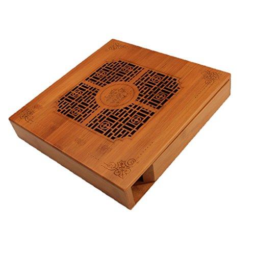 FLAMEER Tee Tabellen natürlicher Bambus China Kungfu Tee Behälter feste Teetisch Platten Serviertablett (China-platte)